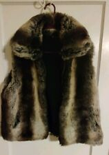 EUC Siena Studio Faux Rabbit Fur reversible Pocketed Zip up Vest Top M