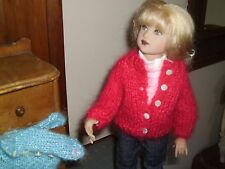"""NO DOLL  MADE FOR 14"""" KISH RED MOHAIR BLEND SWEATER ALSO FITS ROSETTE"""