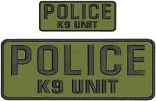 police k9 unit embroidery patches 4x10 and 2x5 hook on back black letters