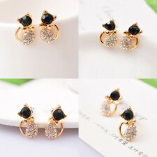 1Pair Gold Plated Cute Cat CZ Crystals Black Eye Stud Earrings Women Jewelry DIY