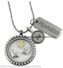 Be Fearless Tags With Heart & Yellow Flower Floating Charms CZ 30mm Glass Locket