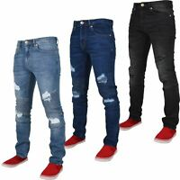 Men Crosshatch Biker Slim Fit Stretch Denim Ripped Jeans - Clearance Stock Price