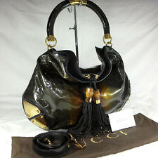 Authentic Gucci Indy Bronze Black Patent Leather Large Hobo Shoulder Handbag VGC