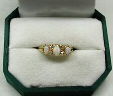 Antique Stunning 18ct Gold Thee Stone Opal And Diamond Ring