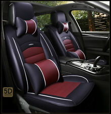 PU Leather Vehicle Car Interior Accessories Seat Cover+Rear Pillows Rose & Brown
