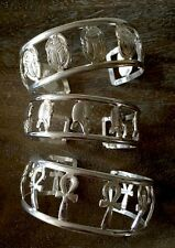 Lot 3 Egyptian Ankh King Tut Scarab Cuff Bracelet Silver Plated Gods of Egypt
