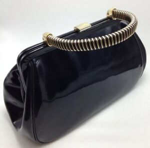 1950's BLOCK Patent Leather Bag Purse With Ticket Stub From Goodspeed Opera 93