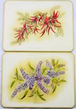 Vintage Placemats R.H. Cometti Hebe Speciosa & Clianthus Puniceus Flowers