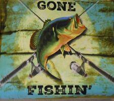 New Gone Fishin Fleece Throw Blanket Gift Bass Fishing Rod Rustic Lake Decor NIP
