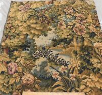 Antique c1900 French Scenic Floral Jacquard Tapestry Fabric Sample~Reserved