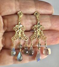 Labradorite Solid 14K Yellow Gold Chandelier Dangle Earrings, New