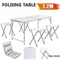 4FT Folding Camping Table Outdoor Portable BBQ Picnic Party Table Set w/ 4 Stool