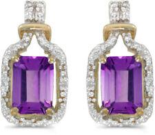 14k Oro Amarillo Corte Esmeralda AMATISTA Y Diamante Pendientes