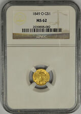 1849 O $1 One Dollar Gold Liberty Head, NGC MS 62. New Orleans Mint