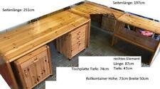 Eck Schreibtisch Massivholz Vollholz Echtholz mit 2 Rollkontainer 251x197x74 cm