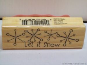 Let it Snow & Snowflakes Stamp Rubber Wood Mounted Christmas Winter Stamping