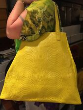 Yellow Mock Snakeskin Neiman Marcus Tote / Shopper / Baby Bag / Beach Bag