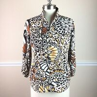 Zenergy Chicos 0 Womens Jacket Butterfly Pattern Zip Front 3/4 Sleeve Size S