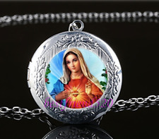 Virgin Mary heart Photo Glass Tibet Silver Chain Locket Pendant Necklace#T31