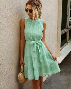 New Dress Casual V Neck summer Fashion beach Long Sleeve women's Party Evening