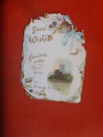 1900's ANTIQUE fancy  CHRISTMAS floral  CARD  15X10CM