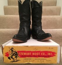 Vintage Stewart Boot Co Mens Western Cowboy Leather Black Boots 1977 Size 10.5 B