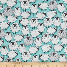 By 1/2 Yd Michael Miller Cotton Fabric ~ Eyes on Ewe Sheepish in Aqua