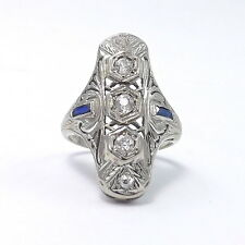 Art Deco 18K White Gold .50 ctw Old Mine Cut Diamond Sapphire Ring Sz 6.5