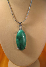 large green jade oval shape pendant (without chain)