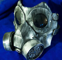 Leather gas mask handmade LARP burning steampunk man  comiccon