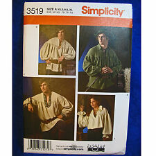 Simplicity 3519 Costume Men Women Pirate Poet's Shirt Sewing Pattern XS-XL NEW!