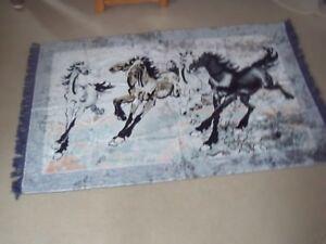 Original 80's Velour Wall Hanging Woven Tapestry Wild Horses bought Saudi Arabia