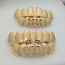 2 SETS! *IMPERFECT* NEW 14K Gold Plated Plain Teeth GRILLZ SET Halloween Costume