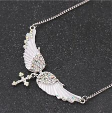 Women Girls Halloween Retro Silver color Crystal Angel Wing Cross Necklace Chain