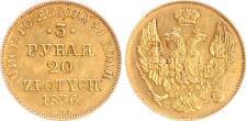 Russland/Polen 3 Rubel/20 Zlotych 1836 Gold vz+