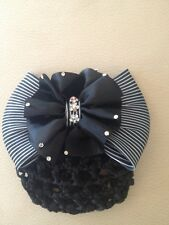 BLACK AND WHITE SHOW BOW WITH CLEAR RHINESTONES HAND CROCHET