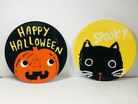 Lot Of 2 Pottery Barn Kids Halloween 9 Inch Plates Pumpkin And Black Cat.
