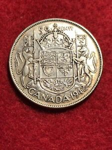 1942 Canada Silver 50 Cents Silver Coin - NICE COIN & DETAILS #307