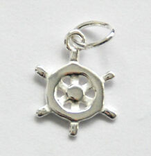 ONE STERLING SILVER SHIP'S WHEEL CHARM / PENDANT + OPEN JUMP RING, 12 X 9 MM