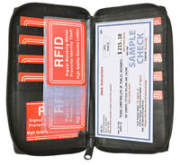 RFID Signal Blocking Leather 17 Credit Card Wallet ID Checkbook Cover Zip Around