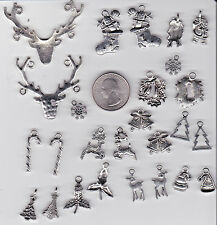 YOU GET 26  METAL MIXED  SILVER TONE CHRISTMAS CHARMS.  U.S. SELLER.  - C 39