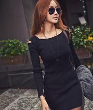 mujer punto Frío Corte Hombro manga larga Vestido Ceñido Mini Jersey