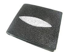 Genuine Stingray Skin Leather Mens Bi-Fold Card Wallet Black + FREE SHIPPING