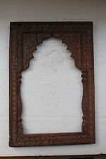 Antique Old Hand Craved Wooden Arch Shape Unique Mirror / Photo Frame NH3076