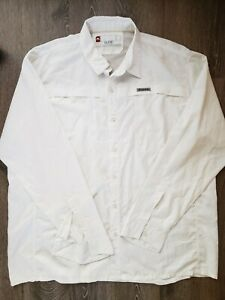 SIMMS Guide Series White Polyester Button-Up Fishing Shirt Size XXL 2XL