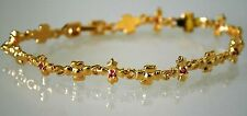 Ladies BRACELET 18KT Gold Plate 7 RUBY STONE Accent FLORAL DESIGN $95 NEW GIFT