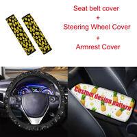 Custom Design Car Steering Wheel Cover+Seat Belt Covers+Armrest Cover 3pcs Set
