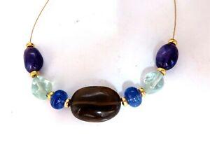 Natural Topaz Amethyst Aquamarine Tanzanite Gold Bead Necklace 14kt 18kt