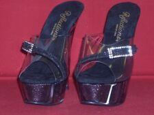 Designer Party High Heels Platform Glitter Black Reflection Size 40 New