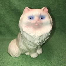 80's Vintage 8 Inch Hand Painted Ceramic White Persian Cat Figurine